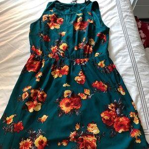 Plus size floral knee length dress